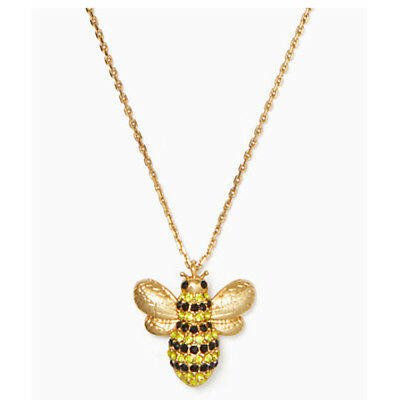 $ CDN28.54 • Buy Kate Spade Gold Tone Crystal Picnic Perfect Bee Pendant Necklace W/ Gift Box