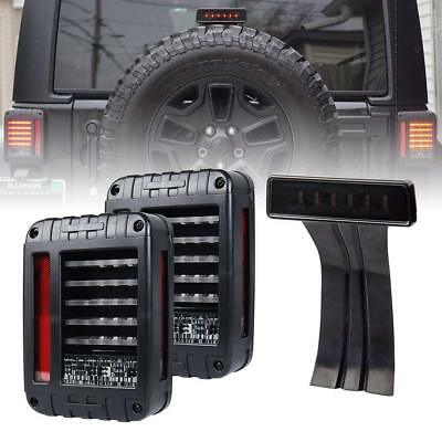 AU139.81 • Buy For Jeep Wrangler JK LED Rear Tail Light + Smoke Lens Third High Brake Light Set