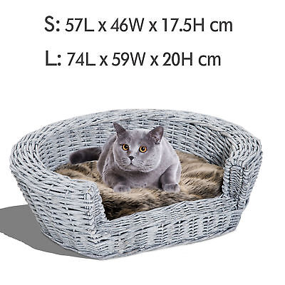 £28.99 • Buy Elevated Pet Sofa Bed Dog Cat Basket Couch Rasied Wicker Willow Rattan W/Cushion