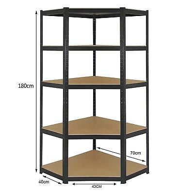 Heavy Duty Boltless BLACK Shelving CORNER Racking Garage Warehouse Workshop Shed • 38.95£