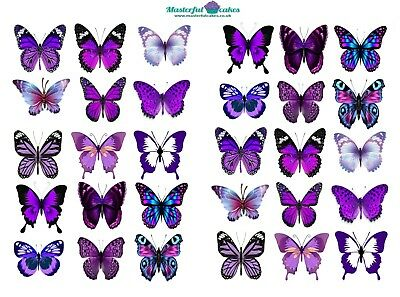 30 X Purple Butterflies Edible Cup Cake Toppers In Rice Paper, Icing And Precut • 2.75£