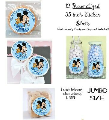 $8.99 • Buy 12 Baby Mickey Mouse Personalize JUMBO STICKERS For Lollipops, Goody Bags Shower