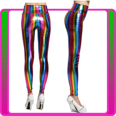 AU12.34 • Buy 1980s 1990s 80s Neon Rainbow Leggings Disco Fluro Metallic Costume Pants Madonna