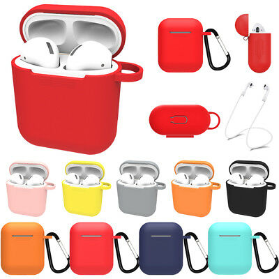$ CDN3.93 • Buy For Apple AirPods Accessories Silicone Cover Case With Carabiner Anti-lost Strap