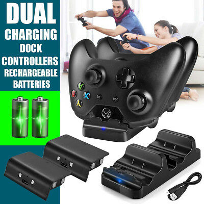 Dual Charging Dock Station Controller Charger+2Rechargeable Battery For Xbox One • 9.99$