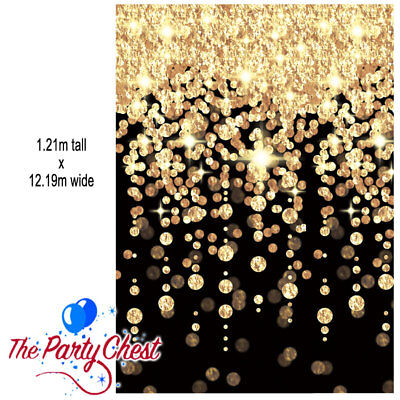 40FT BLACK AND GOLD HOLLYWOOD WALL DECORATION New Years Eve Party Decorations • 14.45£