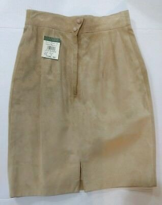 $ CDN100 • Buy Danier Leather Skirt Butter Cream Solid Print Size 8 Nwt $150