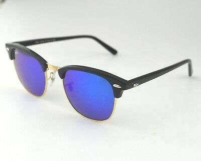8153be027d Ray-Ban RB3016 Clubmaster Classic 901 17 Black Frame Blue Flash Glass Lens