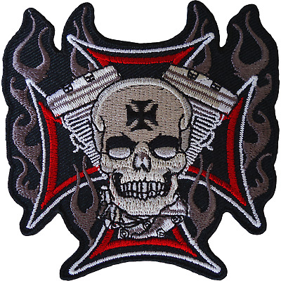 Skull Cross Patch Iron Sew On Cloth Embroidered Badge Motorbike Motorcycle Biker • 2.79£