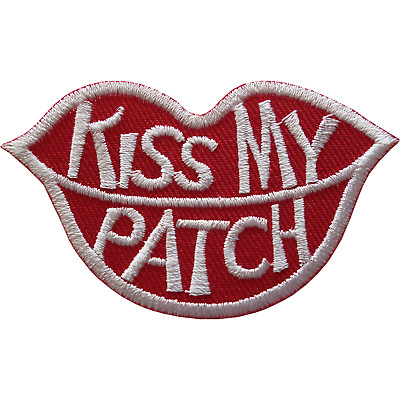 Kiss My Patch Iron On Sew On T Shirt Jeans Jacket Bag Red Lips Embroidered Badge • 2.79£