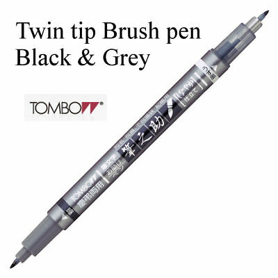 Tombow Fudenosuke Black And Grey Twin Tip Brush Pen • 4.49£