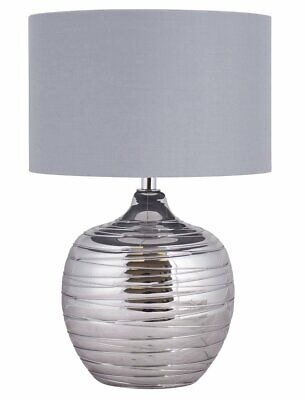 Modern Smoked Metallic Rippled Glass Table Lamp Or Bedside Light With Grey Shade • 39.99£