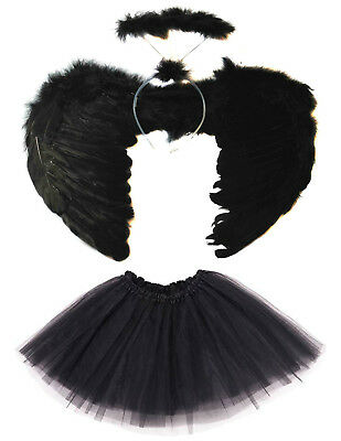 Black Dark Fallen Angel Wings, Halo And Tutu Set Halloween Costume Fancy Dress • 6.49£