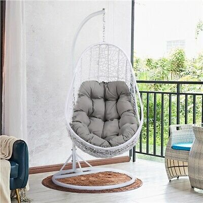 £354.99 • Buy Rattan Swing Chair Outdoor Egg Chair Garden Hanging Swing Chair With Stand White