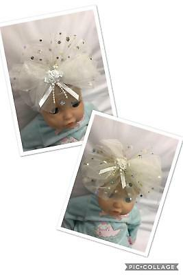 Baby Babies HEADBANDS HEADBAND Large Bow 0-12m Pink White Ivory Spot Christening • 5.99£