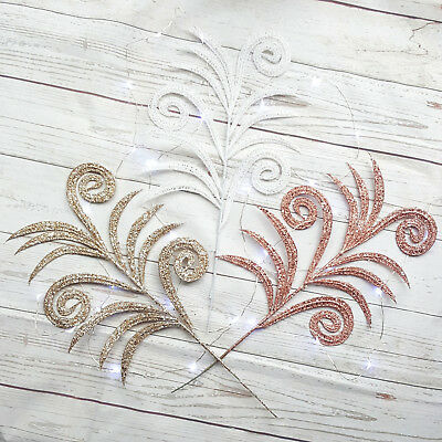 Glitter Fern Leaf Christmas Decoration Champagne Rose Gold Red Silver Tree • 1.89£