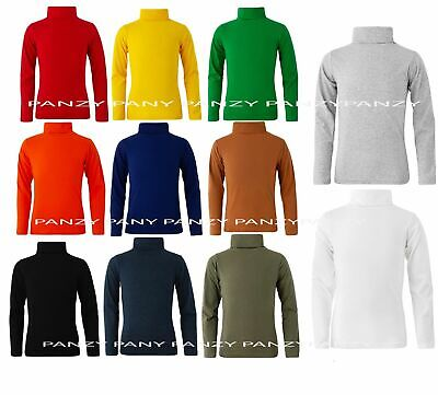 £3.99 • Buy Kids Boys Girls 100% Cotton Polo Neck Jumper Top Roll Neck Long Sleeved Tops