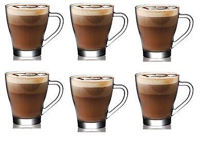 £12.95 • Buy 6 Pieces Latte Hot Chocolate Tea Coffee Clear Cup Glasses Mugs With Handle 260ml