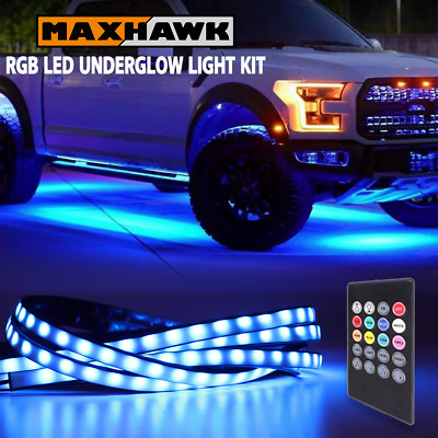 $23.91 • Buy RGB 8 Color Car Truck Underglow Under Body Neon Accent LED Tube Lights Kit 4 Pcs