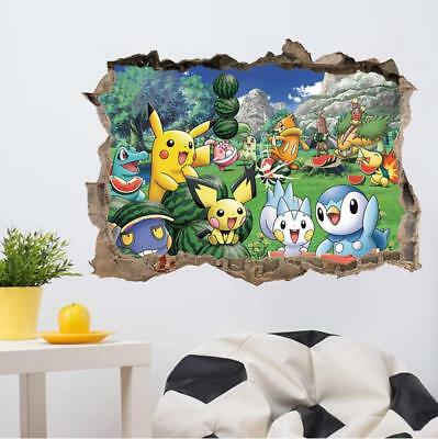 $8.99 • Buy US 3D Wall Stickers Pokemon Pikachu Cartoon Room Decal Wallpaper Removable