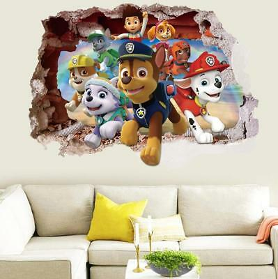 $9.99 • Buy US 3D Wall Stickers Paw Patrol Kids Cartoon Room Decal Wallpaper Removable