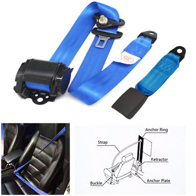 $ CDN60.77 • Buy Classic Car Parts 3 Point Automatic Lap & Diagonal Seat Belt Kit Blue Adjustable