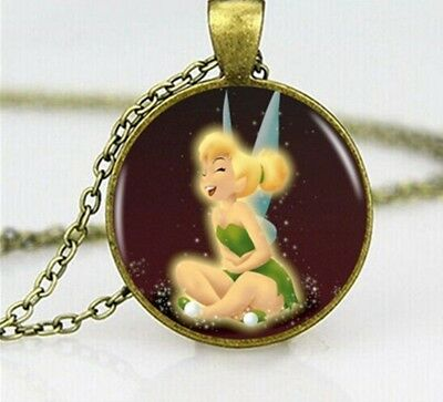 £3.99 • Buy Vintage Disney Tinkerbell Fairy Glass Picture Pendant Necklace Gift Box Or Bag