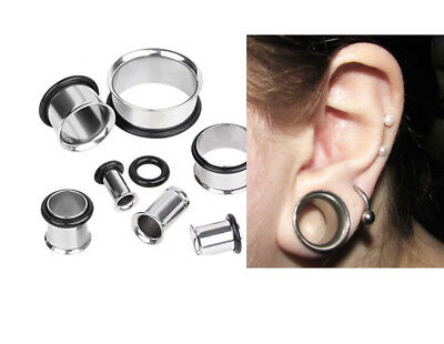 AU4.30 • Buy 1 Or 2 Single Flare Ear Tunnels With O Rings Surgical Steel - 14g To 35mm  #PSF