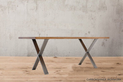 Set Of 2 X Cross Shape Table Bench Legs - Industrial Dining Bench Rustic Hairpin • 94.99£