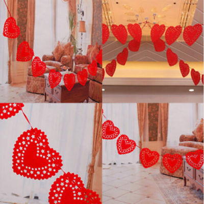 Red Love Heart Flags Garland Banner Paper Hanging Xmas Wedding Party Decoration • 1.91£