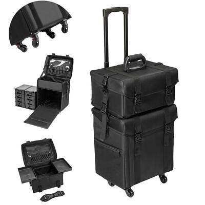 $90.99 • Buy Professional Rolling Makeup Train Case Artist Trolley Soft Sided Storage Black