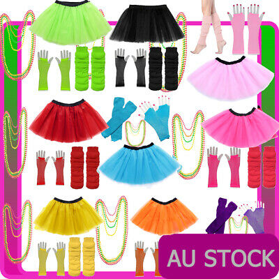 AU23.27 • Buy Ladies 1980s Tutu Skirt Fishnet Gloves Leg Warmers Necklace 80s Neon Costume