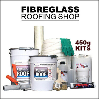 £33.95 • Buy GRP Fibreglass Flat Roofing Kit 450g 1 Square Meter. Includes Tools & Topcoat