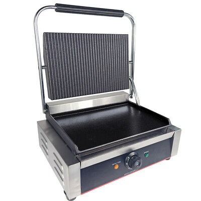 Electric Grooved Panini Press Contact Grill Toaster Sandwich Griddle Machine • 141£