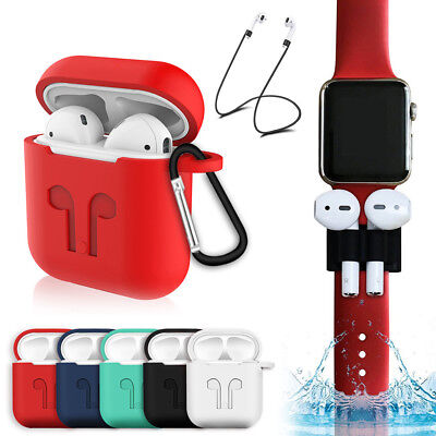AU5.01 • Buy For Apple AirPods Earphones Accessories Silicone Cover Case With Anti Lost Strap