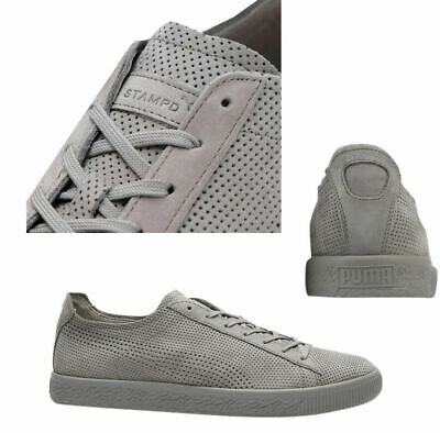 Puma X STAMPD Clyde Lace Up Mens Grey Leather Trainers 362736 03 B84A • 44.99£