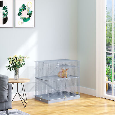 3-Level Hamster Cage Small Animal Rat Pet Hutch House Easy Clip Base Ladder Grey • 51.99£