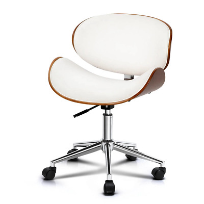 AU114.59 • Buy Artiss Wooden & PU Leather Office Desk Chair - White