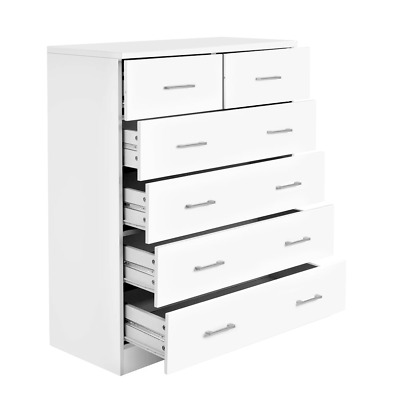 AU175.64 • Buy Artiss Tallboy Dresser Table 6 Chest Of Drawers Cabinet Bedroom Storage White