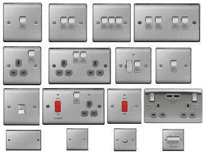 £17.95 • Buy BG Nexus Metal Light Switches & Sockets Electrical Wall USB Insert Brushed Steel
