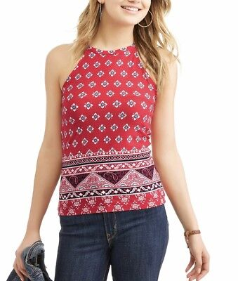 74a12acaf1730 No Boundaries Juniors  Printed High Neck Ringer Tank Top Red Flowers  Paisley • 6.99