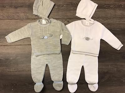 Baby Babies Babys Suit Bonnet Boys Girls Knitted Grey White Spanish Style OUTFIT • 17.99£