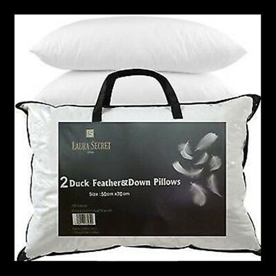 Luxury Duck Feather Pillows - Hotel Quality - Extra Filling - Firm Support  • 7£