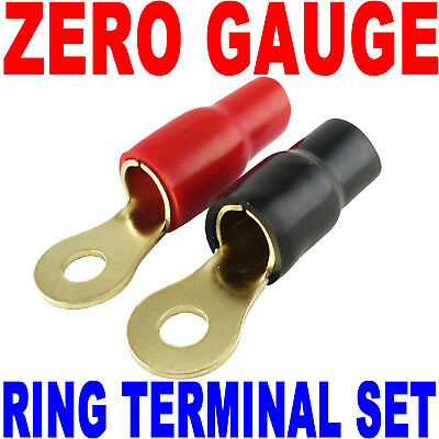 AU10.84 • Buy 0 Gauge Wire Cable Ring Terminal Connectors Red And Black Boots Zero Or 2 Gauge