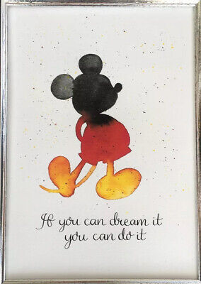 Mickey Mouse Quote Watercolour Art Print A4 Calligraphy Wall Decor • 4.99£