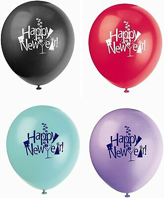 £2.99 • Buy 8 X Happy New Year 12  Countdown Latex Balloons New Years Eve Party Decorations