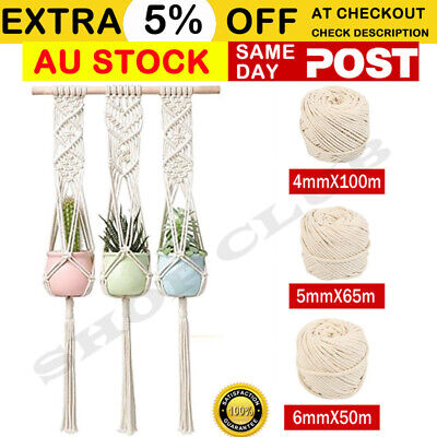 AU21.80 • Buy 4/5/6mm Macrame Rope Natural Beige Cotton Twisted Cord Artisan Hand Craft Decor