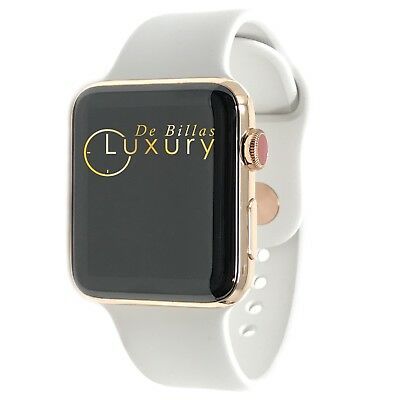 $ CDN1181.82 • Buy 24K ROSE Gold Plated 42MM Apple Watch SERIES 3 White Sport Band GPS+LTE
