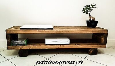 £94.99 • Buy TV Stand/TV Unit/Chunky Rustic Handmade Furniture/Solid Pine Wood/TV Cabinet