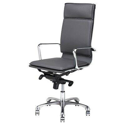 AU1216.74 • Buy 47.5  Tall Adjustable Swivel Office Chair Faux Leather Chrome Aluminium Base